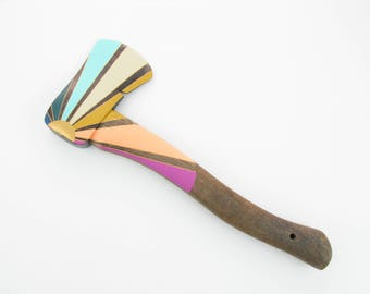 Vintage Hatchet - Rainbow Sunburst - Home Decor