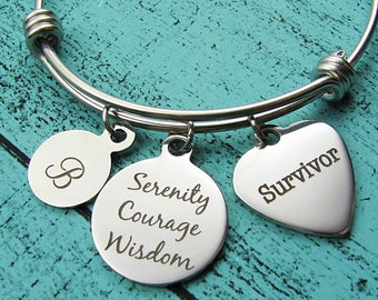 survivor jewelry, addiction recovery bracelet, cancer survivor gift serenity courage wisdom, NA sobriety gift, AA, eating disorder awareness