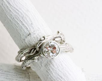 White Topaz Eternity Engagement Ring Set, Silver Twig Rings, Nature Tree Rings
