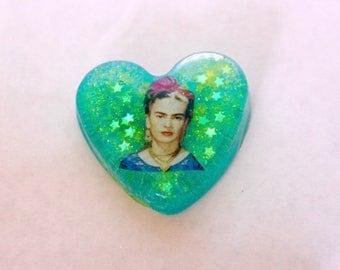 Frida Kahlo Heart Shaped Pin Pendant