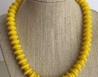 Yellow Czech Glass Necklace