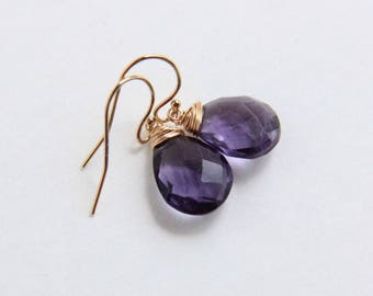 Purple Stone Earrings, Wire Wrapped Briolette, Purple Fluorite Earrings, Gold-filled Jewelry, Fluorite Stone Jewelry