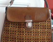 50s 60s tweed and vinyl brown hand bag with silver metal clasp
