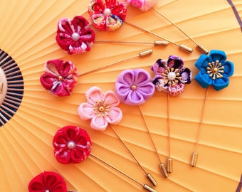Flower Stick Lapel Pin, Flower Scarf/Hat Pin, Lapel Pin, Wedding Boutonniere, Kanzashi Flower, Gift