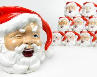 Santa mug set of 9, Santa pitcher, coffee mugs, eggnog mugs, ceramic, red, white, holiday, Christmas