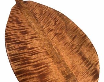"Premium Curly Mango Paddle 60"" Straight Shaft - Steersman Design Made In Hawaii - Commemorative Gift | #koa6028"