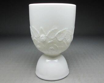 Hobbs Brockunier milk glass egg cup blackberry / blackberries decoration