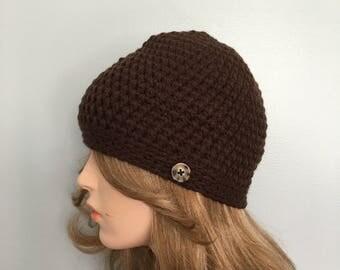 SALE Crochet Beanie Hat - BROWN