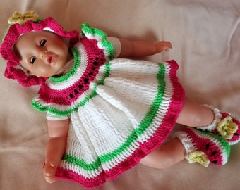 Handmade Baby Crochet Dress, Hat and Booties set (0-3 month). Watermelon set!