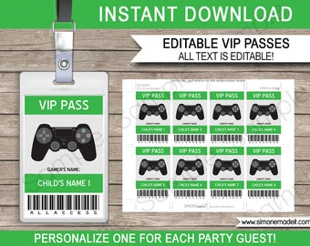 Video Game Party VIP Passes - Printable Gamer Passes - Video Game Theme Birthday Party - INSTANT DOWNLOAD - Editable text - you personalize