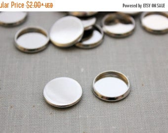 VACATION SALE- 12mm cabochon settings - Silver or Gunmetal
