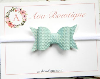 Aqua Mermaid Bow Headband -  Aqua Bow Headband - Baby Bow Headband - Mermaid Scales Bow Headband - Nylon Headband - Leather Bow Headband