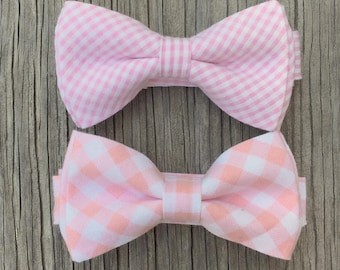 pink bow tie, pink tie, pink bowties, pink gingham mens bowtie, bow ties for men, boys bow tie