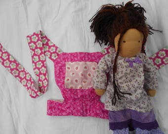 handmade reversible waldorf doll/ baby doll / teddy sling carrier (Think pink! Cath Kidston pink floral and roses)