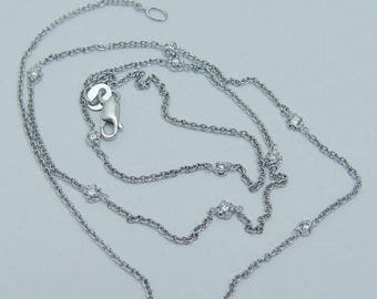 """ON SALE Estate 14K White Gold .16cttw 7 Diamonds by Yard Station Necklace Chain 17"""" Long"""