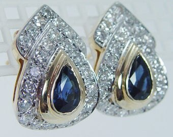 Estate 14K Yellow Gold 1.50 cts Pear cut Sapphires 1.38 cts Diamonds Earrings