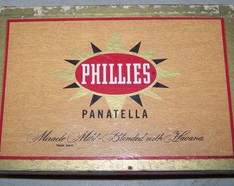 Vintage Phillies Panatella Advertising Cigar Box 1957