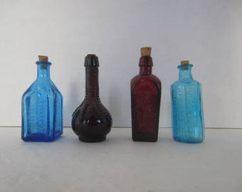 4 Miniature Medicine Bottles, Wheaton