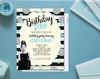 Printable Breakfast at Tiffany's birthday party invitation / friends and co birthday invitation /  female birthday invitation /