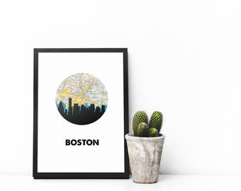 Boston skyline | Boston map | Boston art | Boston print | Boston strong | Boston, Massachusetts wall art | city skyline print