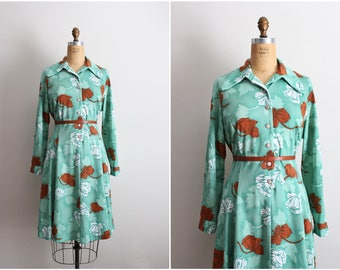 60s Mod Dress / 1960s Dress / Leaves Dress / Green / Novelty Print Dress / 70s / Size S/M