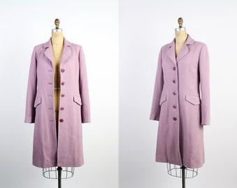 Vintage Pink Wool Coat / Cashmere Coat / Pale Pink Midi Coat / Vintage Women's Pink Coat /
