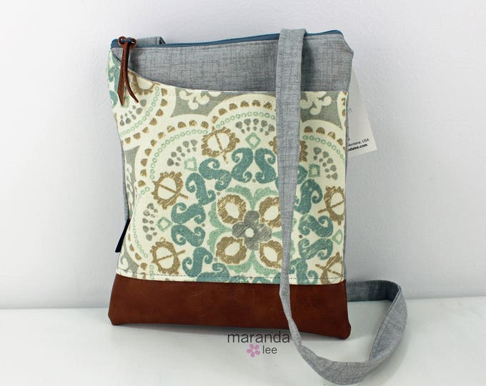 ZOE Messenger Cross Body Sling Bag -Astrid with Grey Denim READY to SHIP