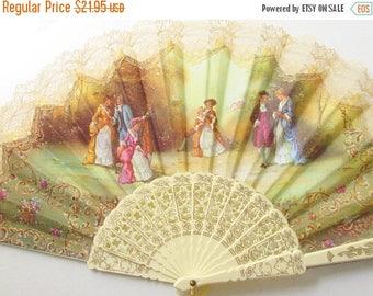 ON SALE Vintage Celluloid Lace Canvas Hand Fan 1940s