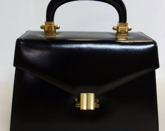 Vintage MASTERCRAFT Black Leather Box Purse