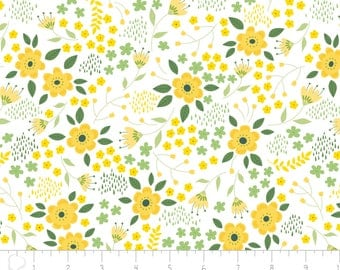 Bright Side - Blossoms White by Alisse Courter from Camelot Fabrics