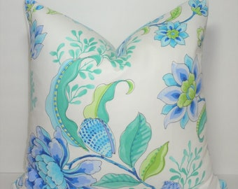 INVENTORY REDUCTION Cobalt Blue Lime Green Divers Paradise Floral Nautical Coral Home Decor by HomeLiving Pillow Cover Size 18x18