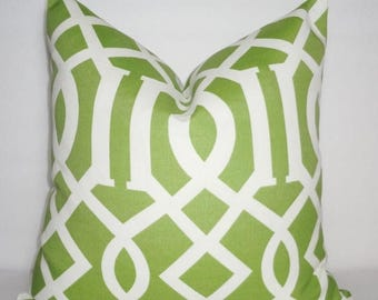 FALL is COMING SALE Outdoor Green & Ivory Geometric Pillow Cover Green Geometric Porch Decorative Pillow 18x18