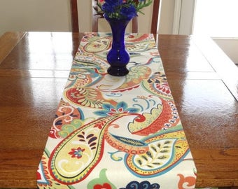 FALL is COMING SALE Covington Ivory Whimsy Paisley Table Runner Table Top Runner Wedding Table Runner Ivory Red Teal Orange All Sizes