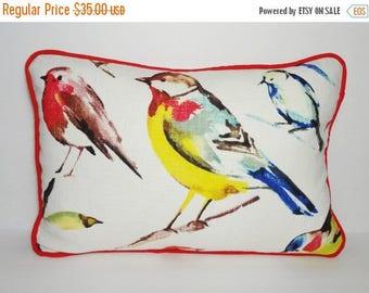 FALL is COMING SALE Birdwatcher Summer Red Yellow Blue Bird Pillow Decorative Richloom Bird Lumbar Pillow 12x18
