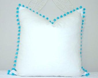 SPRING FORWARD SALE New White Pillow Aqua Blue Pom Poms Fun Pom Pom Pillow Cover White & Aqua Blue