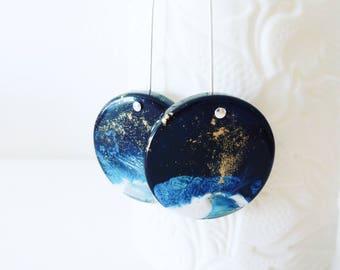Little galaxy / Resin dangle earrings
