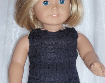 "18 Inch Doll Black Ruffled Cotton Jersey Tank, 18"" Doll Clothes, AG Doll Clothes, Girl Doll Cloths"