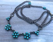 Vintage Turquoise, Sterling Silver, and Chain Necklace OR Jewelry Supply - DIY Inspiration Necklace  - Boho Turquoise Flowers