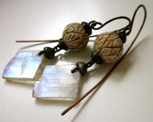 I Hold the Light - primitive grungy mystical blue flash rainbow moonstone shards, carved bone beads, black metal soldered earrings