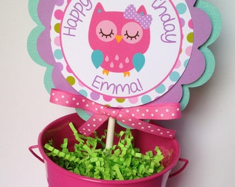 Owl Birthday Party Personalized Circle Smash Cake Topper Pink, Purple, Teal and Green - Owl Party Decorations - Owl First birthday