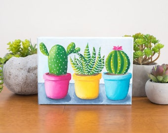 Gardening Gift, Cactus Trio, Cactus Art Original Oil Painting, 5x7 Cactus Painting, Gifts Under 50, Cacti Home Decor, Southwest Decor