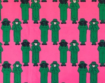 Vintage French Fabric. Quirky, Retro in Vibrant Pink & Green Fabric. Janie Pradier Pour Marignan Cotton Fabric. Length 1m Cut from Bolt