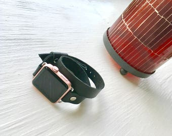 Double wrap band, Apple Watch Band, Genuine Leather Band 38mm, Black leather band, Apple watch strap, band, double tour band handmade