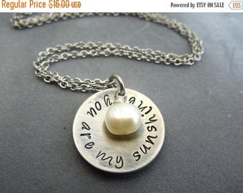 SALE You are my sunshine hand stamped stainless steel necklace
