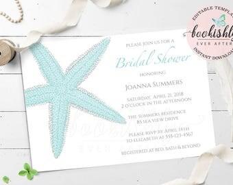 Beach Bridal Shower Invitation Template DOWNLOAD Wedding PRINTABLE Aqua Starfish