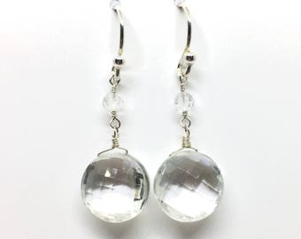 Rock Crystal Shield Earrings - faceted drops - April birthstone - Christmas gift for her - bride jewellery