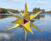 Stained glass 3D suncatcher window hanging, yellow with red and clear iridescent center. 6.5 x 6.5 x 5 inches. FREE SHIPPING