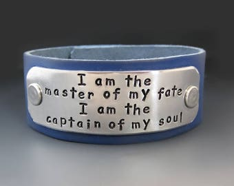 I Am The Master Of My Fate Leather Cuff Bracelet / Hand Stamped Leather Bracelet / Gifts for Her / Graduation Gifts / Inspirational Quote