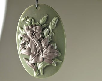 Extremely Exquisite ~ Machine Carved Ribbon Jasper Flower Bouquet Pendant ~ 60mmx 40mm x 9mm - B8231