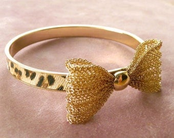 Bow Bangle Bracelet w Leopard Print Goldtone Retro Vintage Classy